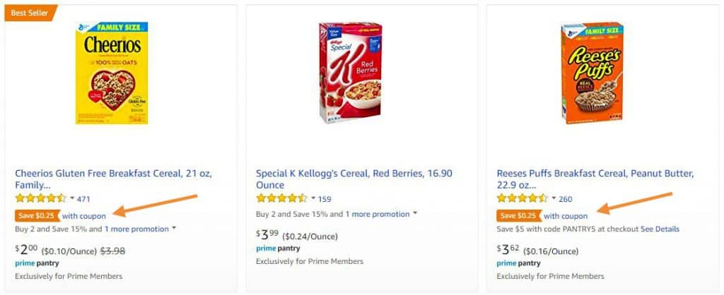 How coupons show in Amazon search results