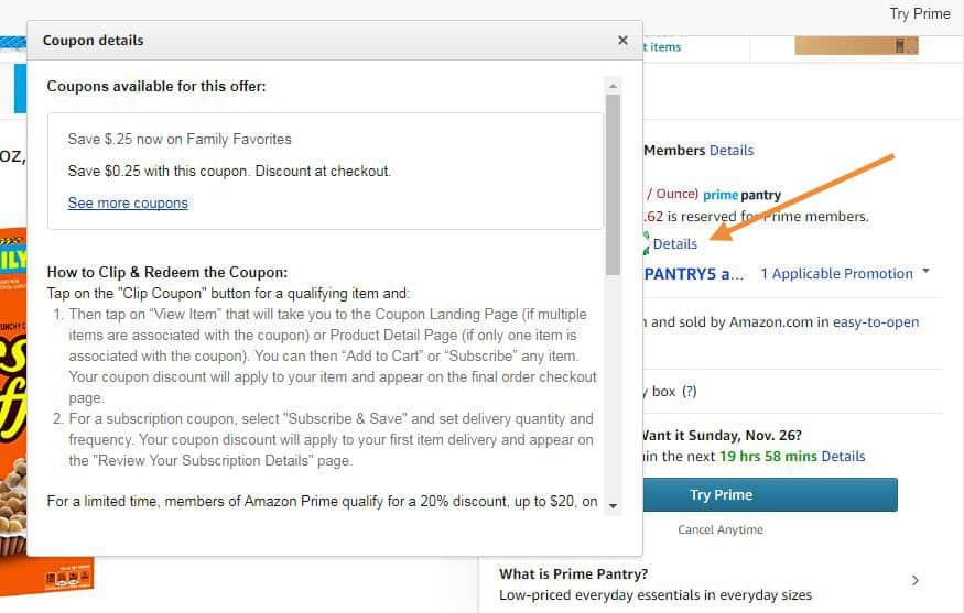 Coupon details on Amazon product listings