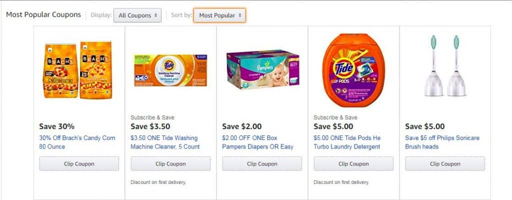 How the Amazon coupon landing page looks