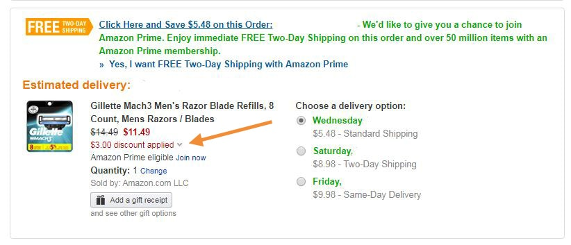 Coupon applied at checkout in Amazon
