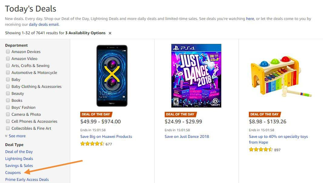 Where coupons show on the gold box deals page on Amazon